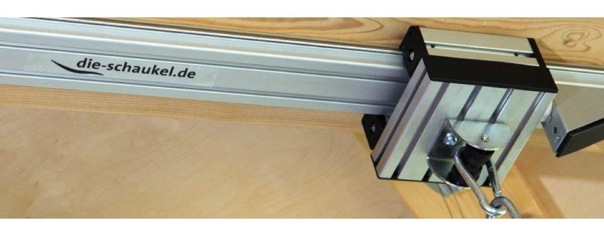 Keinujen Kiskokiinnikke järjestelmä on kevyttä alumiinia yleismaailmallisten kattoasennukseen luoden lähes rajattomat mahdollisuudet.